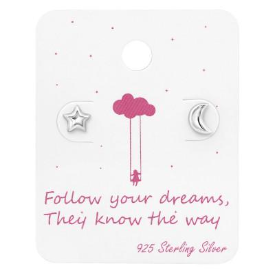 Silver Moon & Star Ear Studs on Follow your dreams