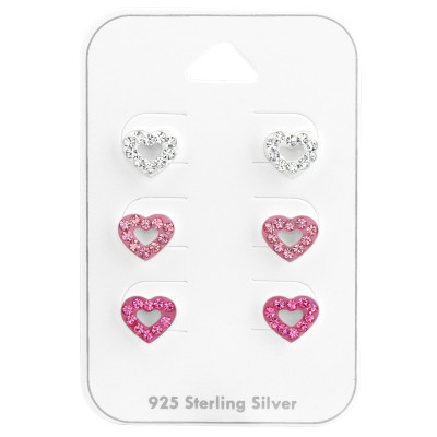Silver Heart Ear Studs Set with Crystal on Card