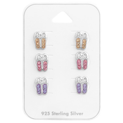 Silver Ballerina Shoes Ear Studs Set with Crystal on Card
