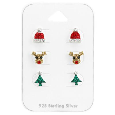 Silver Christmas Ear Studs Set with Crystal on Card