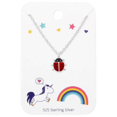 Silver Ladybug Necklace with Epoxy on Unicorns and Rainbow Card