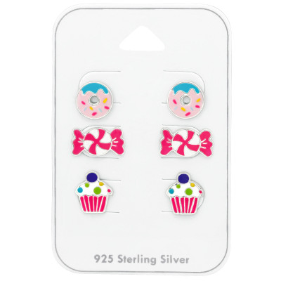 Silver Dessert Ear Studs Set with Epoxy on Card