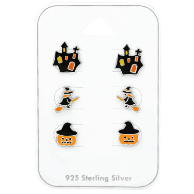 Silver Halloween Ear Studs Set with Epoxy on Card