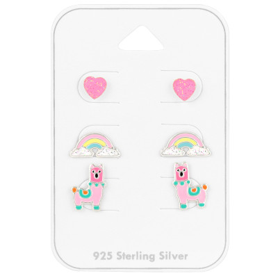 Children's Silver Colorful Ear Studs Set With Epoxy on Card