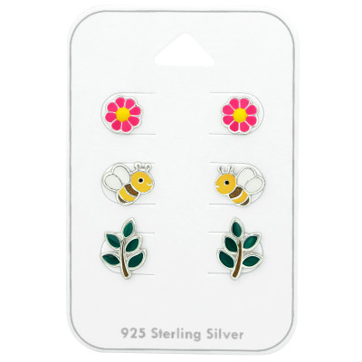 Silver Bee Ear Studs Set with Epoxy on Card