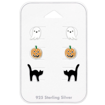 Children's Silver Halloween Set and Jewelry on Card