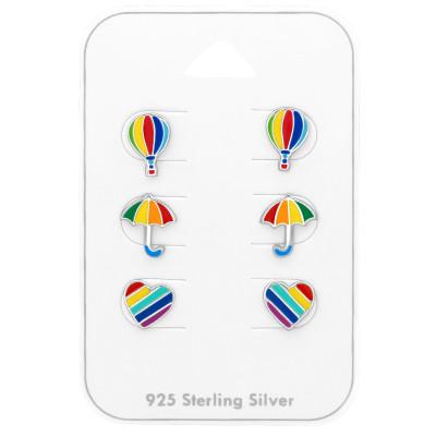Silver Rainbow Ear Studs Set with Epoxy on Card