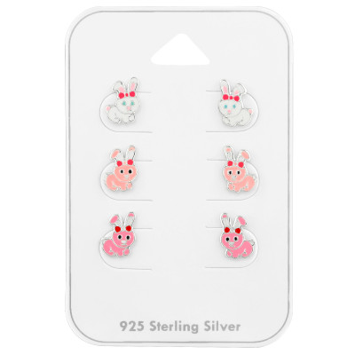 Silver Rabbit Ear Studs Set with Epoxy on Card