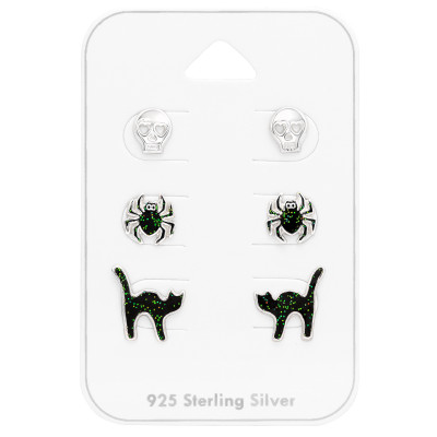 Children's Silver Halloween Set with Epoxy on Card