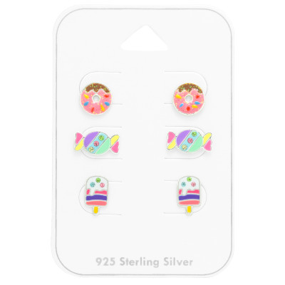 Children's Silver Dessert Ear Studs Set with Crystal and Epoxy on Card