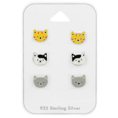 Silver Animal Ear Studs Set With Epoxy on Card