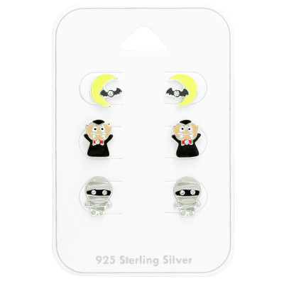 Children's Silver Halloween Set with Crystal and Epoxy on Card