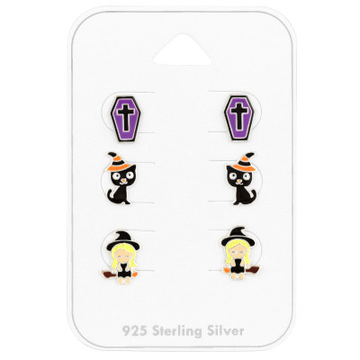 Children's Silver Halloween Ear Studs Set with Epoxy on Card