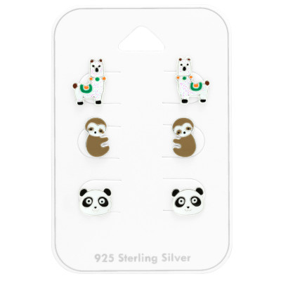 Children's Silver Animal Ear Studs Set With Epoxy on Card
