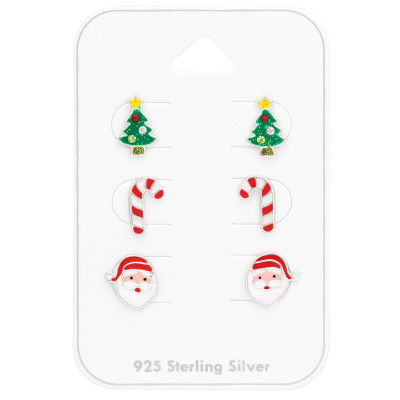 Children's Silver Christmas Ear Studs Set with Crystal and Epoxy on Card