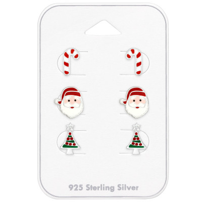 Silver Christmas Ear Studs Set with Crystal and Epoxy on Card