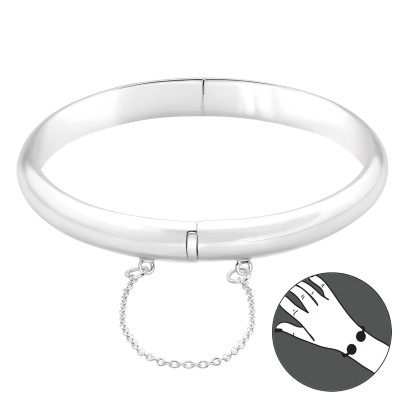 Silver Plain Bangle with Hanging Chain