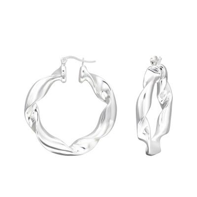 Silver 40mm Twisted Ear Hoops