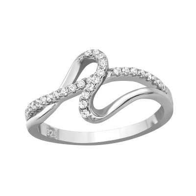 Silver Wave Ring with Cubic Zirconia