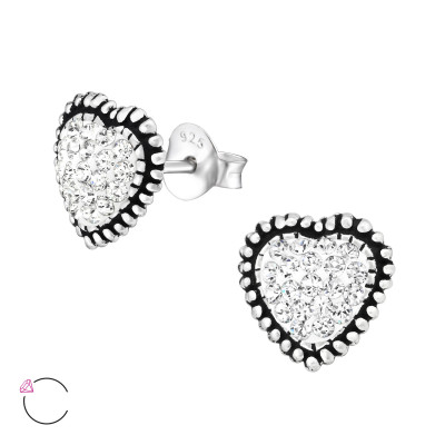 Silver Heart Ear Studs with Genuine European Crystals