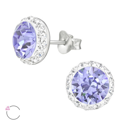 Silver Round Ear Studs with Genuine European Crystal