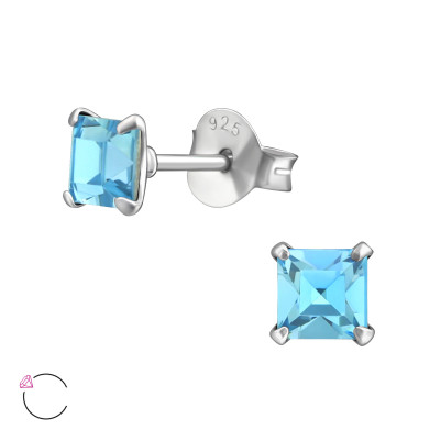 Silver Square Ear Studs with Genuine European Crystals