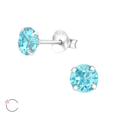 Silver Round Ear Studs with Genuine European Crystals