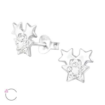 Silver Triple Star Ear Studs with Genuine European Crystal