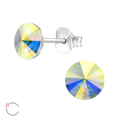 Silver Geometric Ear Studs with Genuine European Crystals