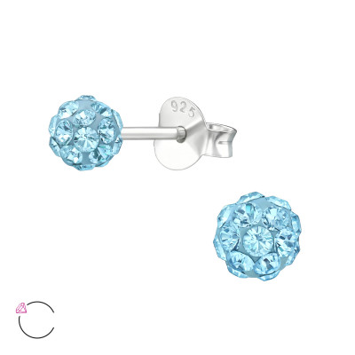 Silver Ball Ear Studs with Genuine European Crystals