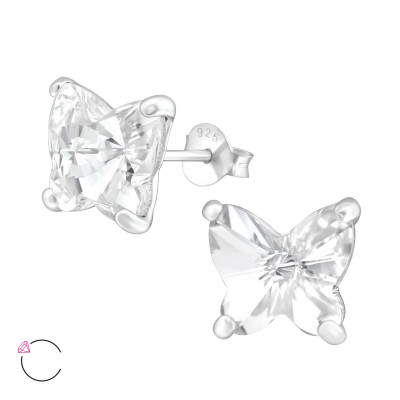 Silver Butterfly Ear Studs with Genuine European Crystals
