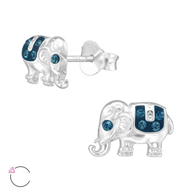 Silver Elephant Ear Studs with Genuine European Crystals