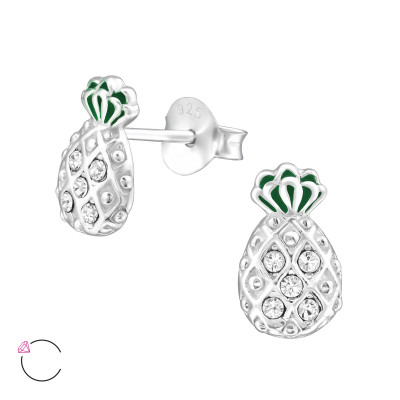 Silver Pineapple Ear Studs with Epoxy and Genuine European Crystals