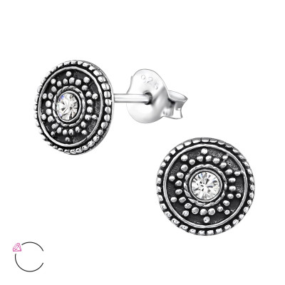 Silver Round Antique Ear Studs with Genuine European Crystals