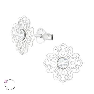 Silver Laser Cut Flower Filigree Ear Studs with Genuine European Crystals