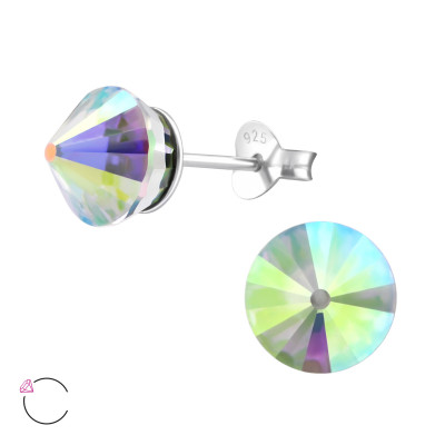 Silver Cone Ear Studs with Genuine European Crystals