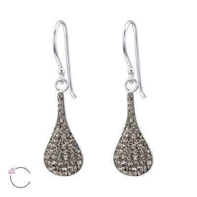 Silver Pear Earrings with Genuine European Crystal