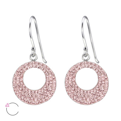 Silver Circle Earrings with Genuine European Crystals