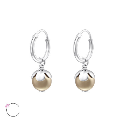 Silver Ear Hoops with Hanging and Genuine European Pearl