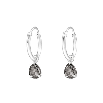 Silver Ear Hoops with Hanging Pear and Genuine European Crystals