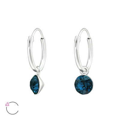 Silver Ear Hoops with Hanging Round Genuing European Crystal