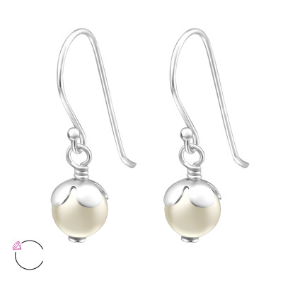 Silver Round Earrings with Genuine European Pearl