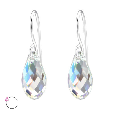 Silver Pear Earrings with Genuine European Crystals