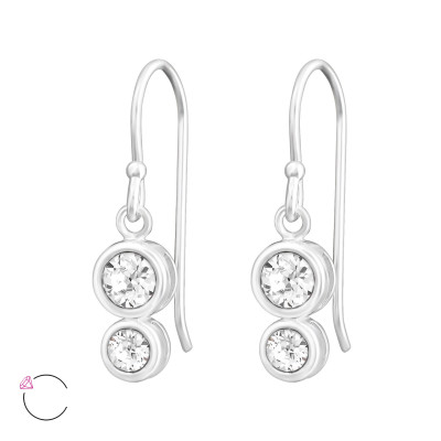 Silver Double Round Earrings with Genuine European Crystals