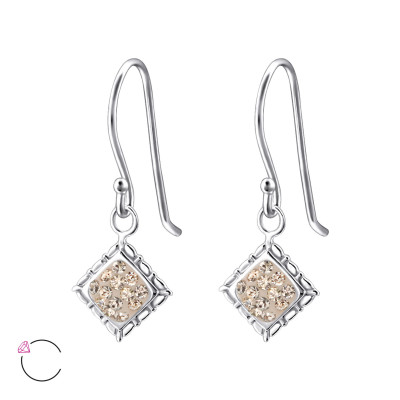 Silver Square Earrings with Genuine European Crystals