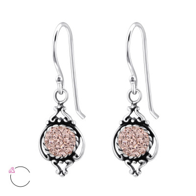 Silver Marquise Earrings with Genuine European Crystals