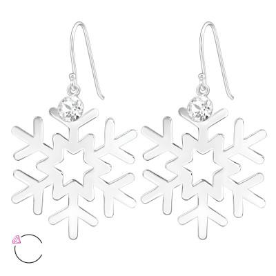Silver Laser Cut Snowflake Earrings with Genuine European Crystals