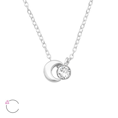 Silver Moon Necklace with Genuine European Crystal