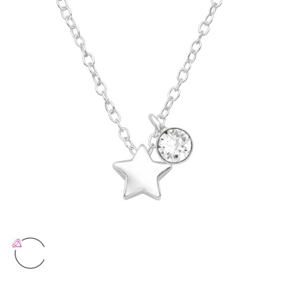 Silver Star Necklace with Genuine European Crystal