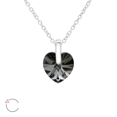 Silver Heart Necklace with Genuine European Crystals
